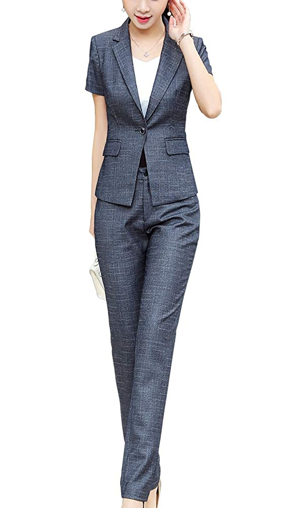 Dark Grey LISUEYNE Women's Business 2 Pieces Office Lady Suit Set Short Sleeve Work Blazer Jacket and Pant Skirt Suit
