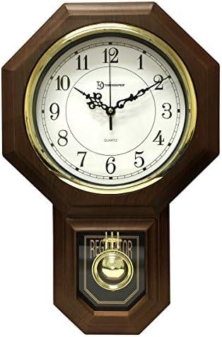 17.5 x 11.25 Essex Westminster Chime Faux Wood Pendulum Wall Clock, Walnut