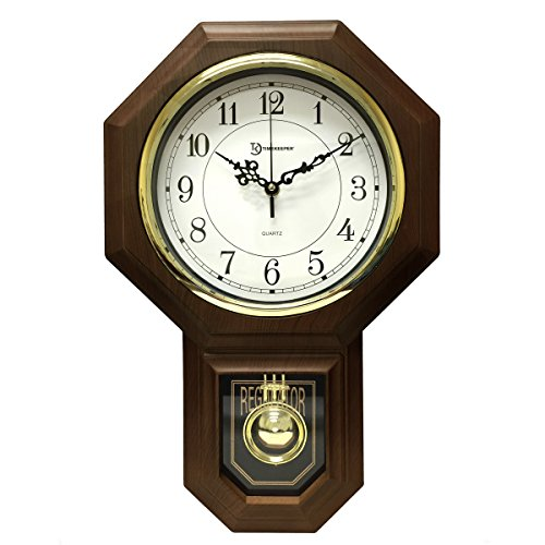 Timekeeper 17.5 x 11.25 Essex Westminster Chime Faux Wood Pendulum Wall Clock, Walnut