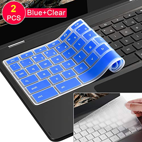 [2 Pack ] Lapogy Keyboard Cover Skin for for Samsung Chromebook Plus(12.3 inch)/Samsung Chromebook Pro(12.3 inch),Chromebook Plus XE513C24,Chromebook Pro XE513C24(Clear and Blue)