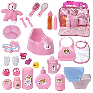 51LNysehsDL. SS300  - Mommy & Me Baby Doll Feeding, Changing, and Accessories Set Including Potty, Magic Bottle, and 28 Doll Accessories, with…