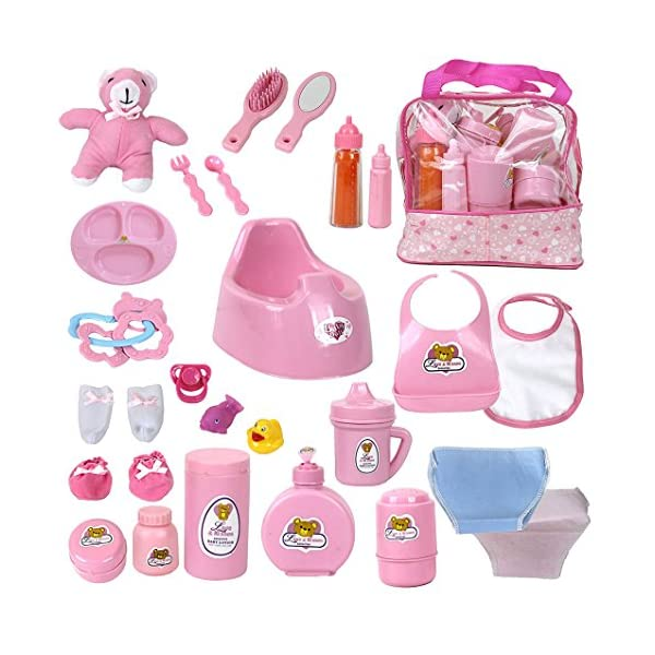 51LNysehsDL. SS600  - Mommy & Me Baby Doll Feeding, Changing, and Accessories Set Including Potty, Magic Bottle, and 28 Doll Accessories, with…