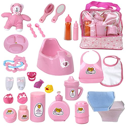 - Baby Doll Feeding Changing Potty Toy Bag Set 28 Accessories