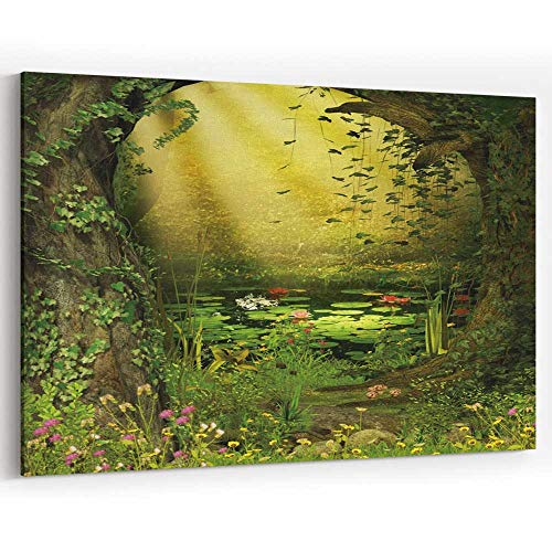 Enchanted Fairies Wall Art - Enchanted Fairy Woods Pond Canvas Art Wall Dector for Home Decor Stretched-Framed Ready to Hang