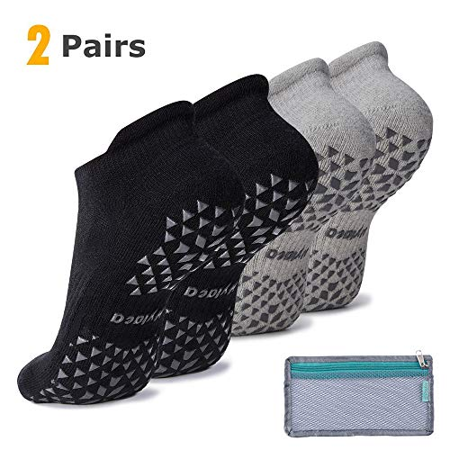Hylaea Unisex Non Slip Grip Socks for Yoga, Hospital, Pilates, Barre | Ankle, Cushioned