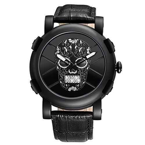 Mens Waterproof Crystal Skull Leather Strap Casual Wrist Watch - Black (Watch Band Leather Skull)