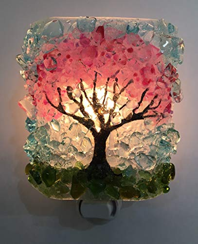 Spring Cherry Blossom Tree Recycled Glass Art Night Light Nightlight, Nitelite, Nite Lite Home Gift from Reborn Glass