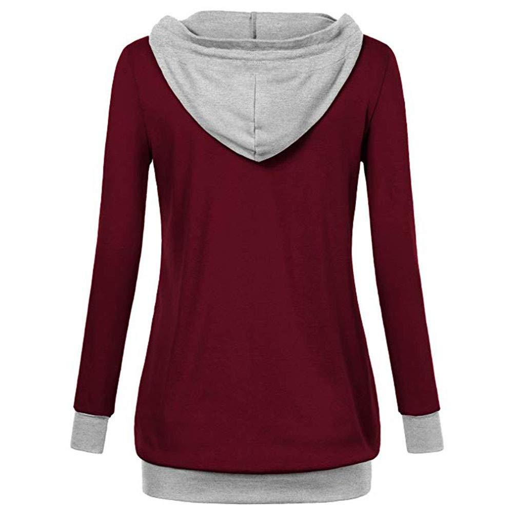 V Neck Long Sleeve Kangaroo Pocket Pullover Blouse Shirt Gallity Womens Drawstring Hoodies