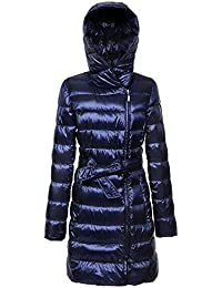 Women's Mid-Length Lightweight Packable Hooded Down Jacket With Sashes