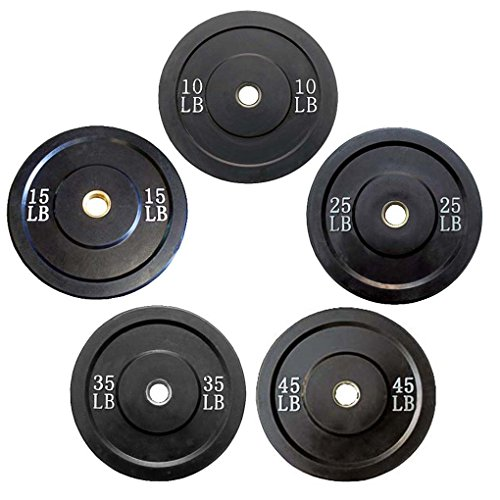 Rubber Bumper Plate Black 5 Pair Set with Ader Plate Rack, Great Gift!