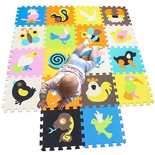 MQIAOHAM playmat Crawling for Baby Play Foam mat Tiles Kids Playground mats Children Jigsaw Floor Gym playmats Interlocking Puzzle Carpet Matting Animal Bird P1032G3010