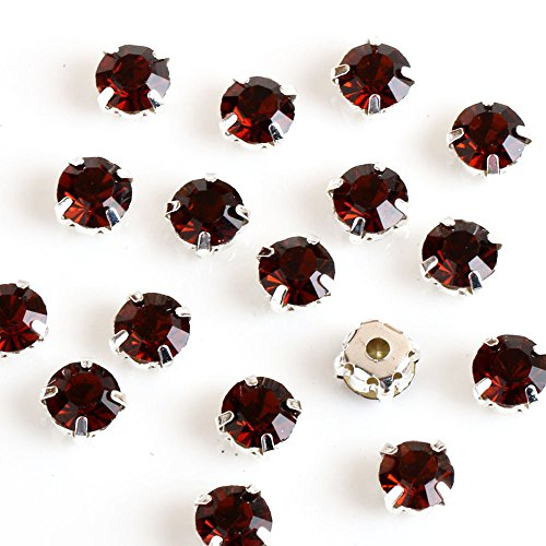 Greatdeal68 3mm to 8mm Glass Rhinestone Sew-on silver settings with 4 holes Crystal/ Crystal AB/ Color (4mm 100pcs, Smoked Topaz)