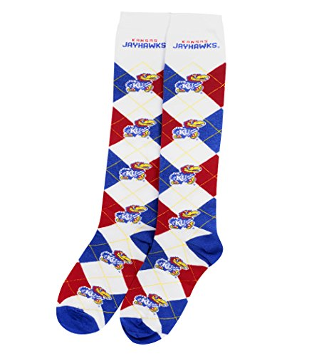 Kansas Jayhawks Womens Watch (NCAA Repeat Logo Argyle Knee High Socks-Medium-Kansas Jayhawks)