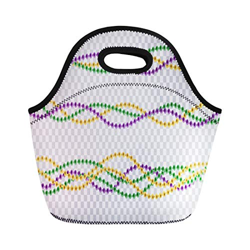 Semtomn Lunch Bags Colorful Border Realistic Beads for Mardi Gras Covering Neoprene Lunch Bag Lunchbox Tote Bag Portable Picnic Bag Cooler Bag ()