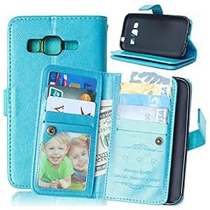 TOMYOU-Funda de piel con tapa de estilo libro para Samsung Galaxy Core Prime G360, [] [Syncwire Cable gratis Marco de fotos con []]-Carcasa de TPU con tapa para Samsung Galaxy Core Prime G360 (G3606 G3608) () azul