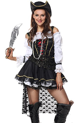 [Sibeawen Women's Deluxe Sultry Swashbuckler Costumes Halloweens Plus Size Costumes Black] (Halloween Pirate Woman Costumes)