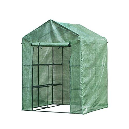 ALEKO GH77X56X56 Portable 4-Shelf Walk in Plant Garden Outdoor Greenhouse Shed