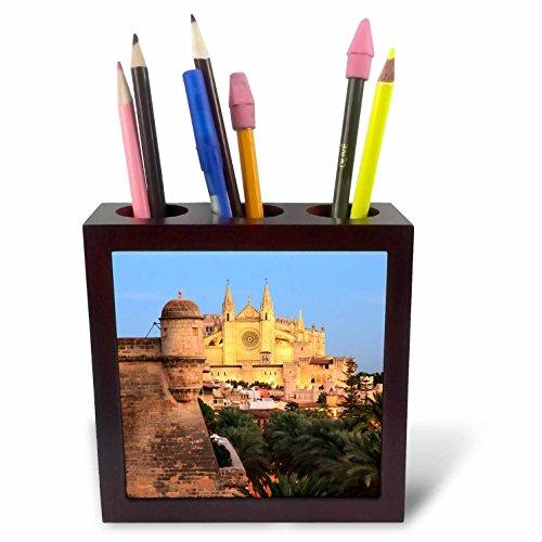 3dRose Danita Delimont - Spain - Spain, Mallorca, Palma de Mallorca. La Seu Cathedral at dusk. - 5 inch tile pen holder (ph_277910_1) by 3dRose