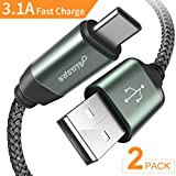 USB 2.0 Type C Cable[2 PACK/6.6FT],3.1A USB C Fast Charger,Durable Braided Armor Nylon Charging Cord for Samsung Galaxy S9 S8 Plus Note 8,LG V20 V30 G5 G6,Google Pixel XL,Nexus 5X/6P,Nintendo Switch