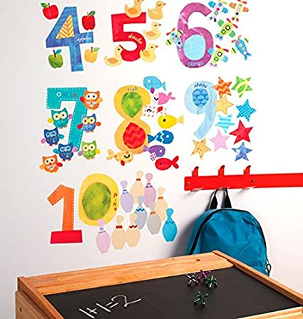 Wallies Wall Decals Counting Numbers Wall Stickers Includes 10 Numbers  sc 1 st  Amazon.com & Amazon.com: Wallies Wall Decals Counting Numbers Wall Stickers ...