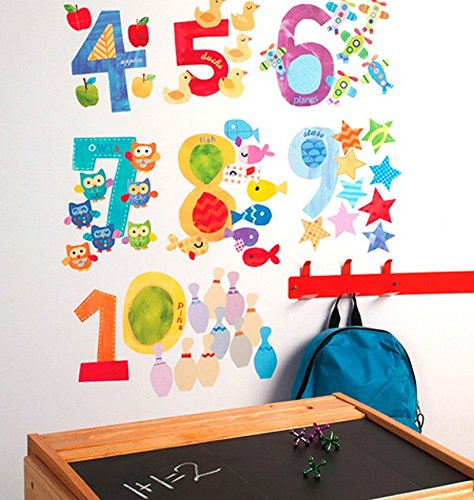 Wallies Wall Stickers - Wallies Wall Decals, Counting Numbers Wall Stickers, Includes 10 Numbers