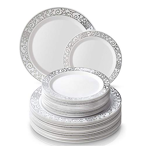 PARTY DISPOSABLE 40 PC DINNERWARE SET   20 Dinner Plates   20 Salad/Dessert plates   Heavy Duty Plastic Dishes   Elegant Fine China Look   Upscale Wedding and Dining (Venetian Collection-White/Silver)