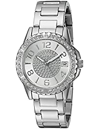 GUESS Women's U0779L1 Crisp Silver-Tone Watch with Date Function
