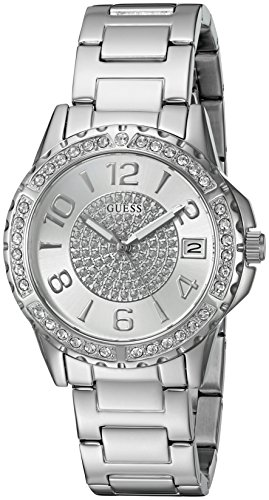 - GUESS  Stainless Steel Crystal Bracelet Watch with Date Function. Color: Silver-Tone (Model: U0779L1)