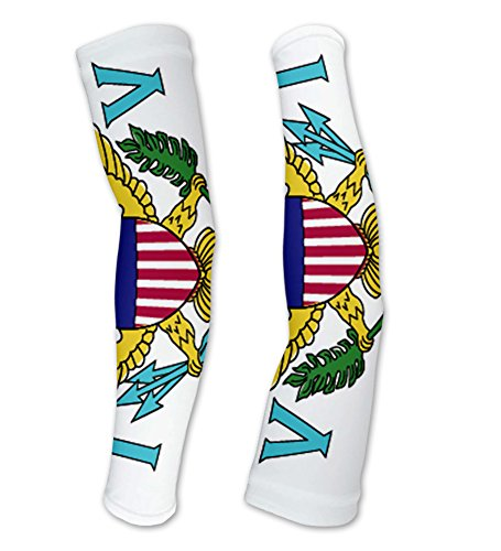 Virgin Islands - US Flag Compression Arm Sleeves UV Protection Unisex - Walking - Cycling - Running - Golf - Baseball - Basketball - Size XL ()