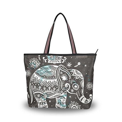 Ladies Elephant - JSTEL Women Large Tote Top Handle Shoulder Bags Vintage Indian Lotus Ethnic Elephant African Patern Ladies Handbag L