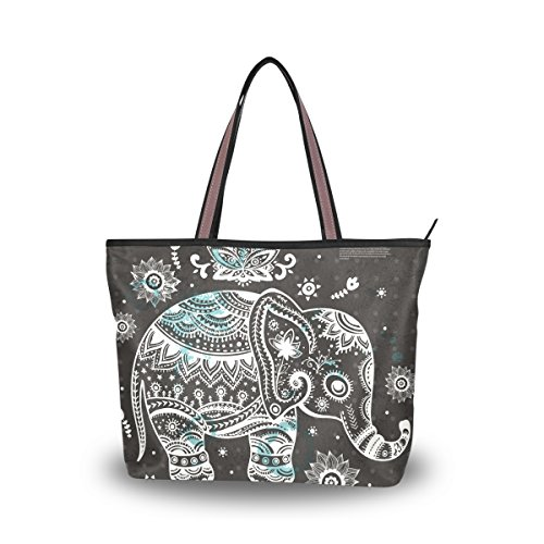 JSTEL Women Large Tote Top Handle Shoulder Bags Vintage Indian Lotus Ethnic Elephant African Patern Ladies Handbag (Lotus Elephant)