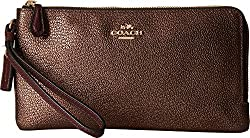 COACH Women's Color Block Doubled Zip Wallet SV/Navy/Navy Metallic Clutch