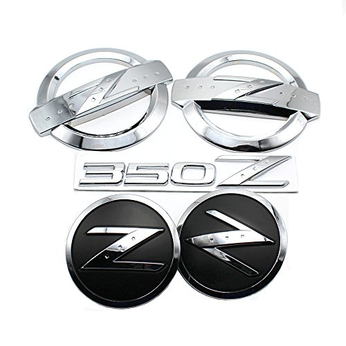 New REPLACEMENT Metal (Not Plastic) 350Z Badge Kits Car Body Front Rear Fender Chrome Silver Emblems Badges Stickers for NISSAN 350Z Fairlady Z33 Emblems Badges 350z Body Kits