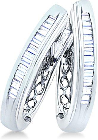 White Gold Baguette Channel Set Diamond U Shape Earrings ...