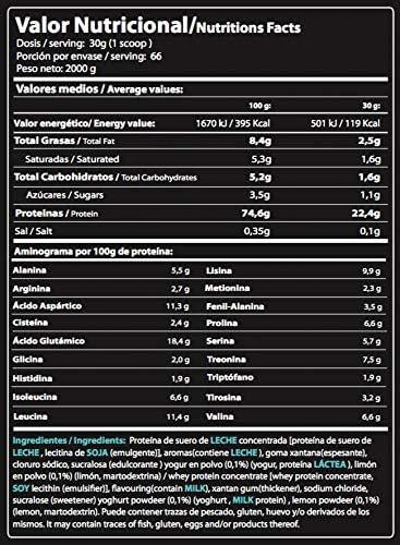 PROTEÍNA 100% WHEY, Sabor Lemon Pie, 2000 g: Amazon.es ...