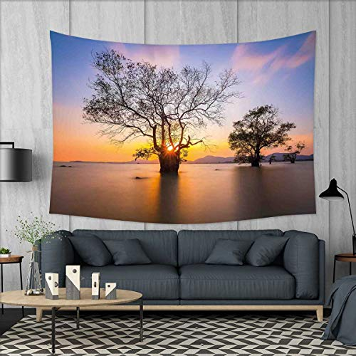 smallbeefly Coastal Wall Hanging Tapestries Dawn Time Rising Sun at Asian Seascape with Autumn Trees in Water Habitat Theme Large tablecloths 84