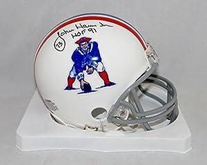 John Hannah Signed New England Patriots 65-81 TB Mini Helmet W/ HOF- SGC Auth