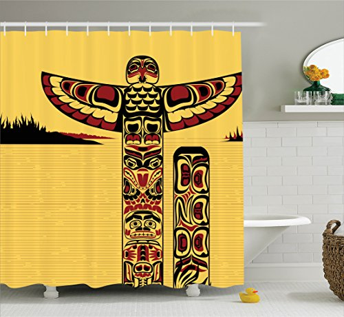 Ambesonne Native American Decor Collection, Illustration of a North American Totem Pole Ancient Spirit Native Artprint, Polyester Fabric Bathroom Shower Curtain, 75 inches Long, Yellow Red Black - Native American Art Totem Poles