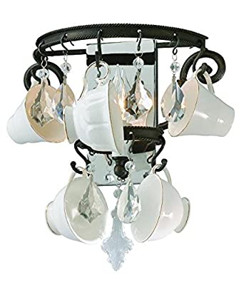 Troy Lighting Barista 1-Light Wall Sconce - Vintage Bronze Finish with Porcelain Coffee Cups and Crystals