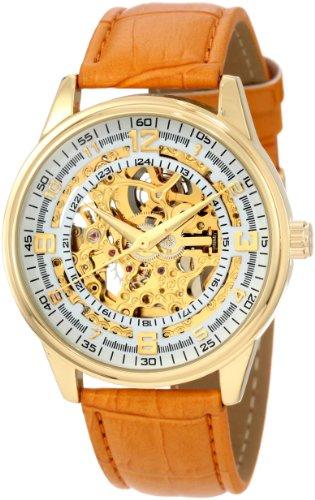 Akribos XXIV Men's AK410 'Saturnos' Skeleton Automatic Leather Strap Watch (Yellow Gold)