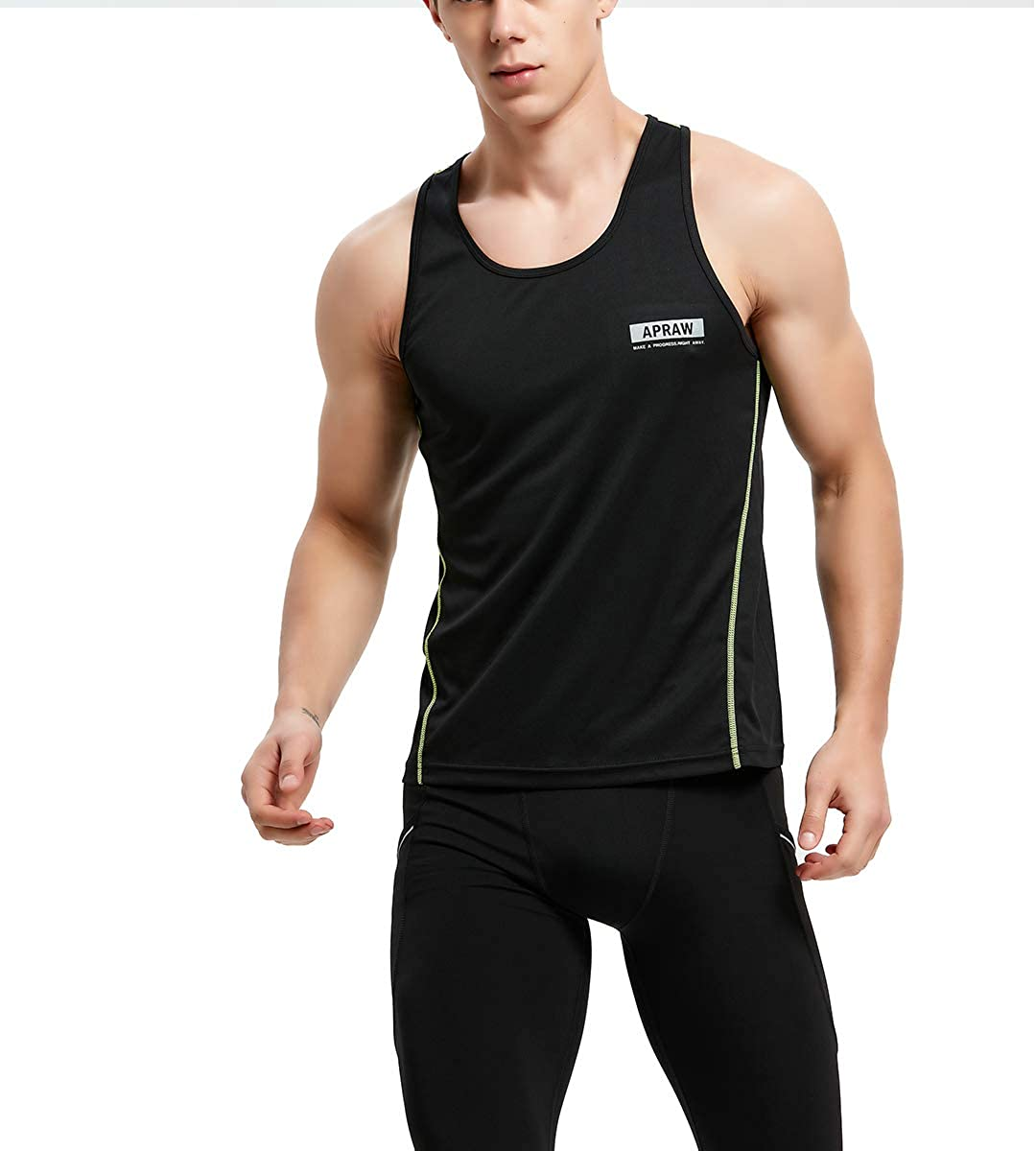 APRAW Mens 3 Pack Quick Dry Tank Tops Compression Muscle Shirts Training Compression Baselayer