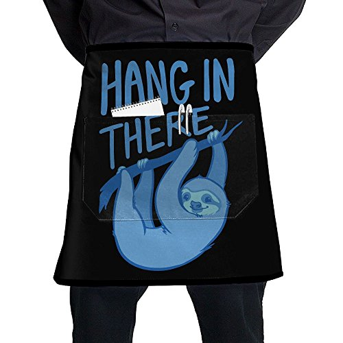 Men's Women's Sloth Hang Funny Half Waist Chef Apron With Pockets Commercial Restaurant Half Aprons For Waitress Waiter Chef