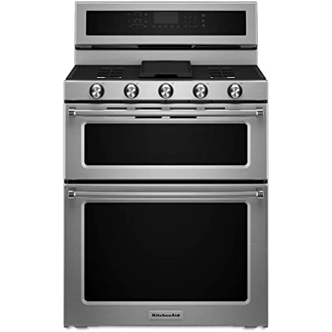 KITCHENAID KFDD500ESS Double Oven Dual Fuel Freestanding Range, 6.7 Cu. Ft.  Pyro Self