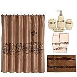 HiEnd Accents Barbwire 21-Piece Bathroom, Shower Curtain Hook, Bath Accessory, Rug, Towel Set, Brown