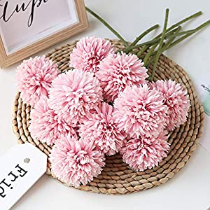 Homyu Artificial Chrysanthemum Ball Flowers Bouquet 10pcs Present for Important People Glorious Moral for Home Office Coffee House Parties and Wedding 12
