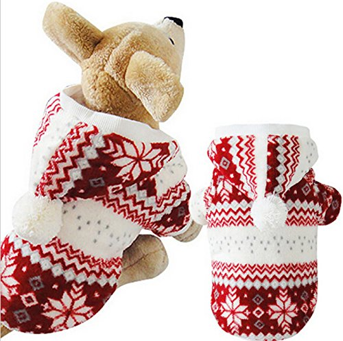 Hot Selling!!! Soft Winter Warm Pet Clothes Cozy Snowflake Dog Costume Clothing Jacket Teddy Hoodie Coat (M, Red-White)