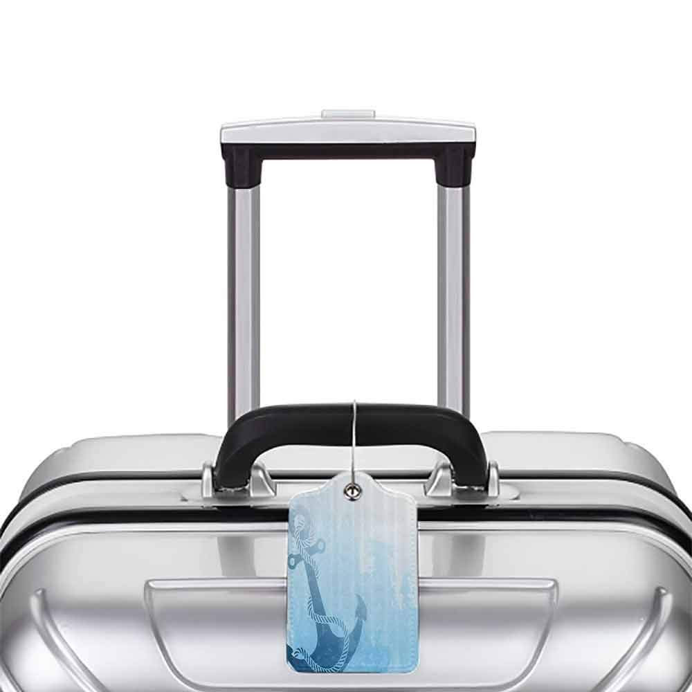 Small luggage tag Nautical Decor Digital Monochrome Anchor Illustration Deep Down In The Sea Bottom Be Strong And Stable Quickly find the suitcase Light Blue W2.7 x L4.6