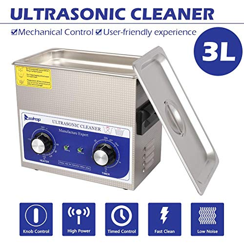 Ultrasonic Cleaner with Heater | Industrial Stainless Steel Body, Tub, Basket | Cleans Jewellery, Dental & Tattoo Equipment, Guns & Gun Parts, Car Parts & Carbs 230HT 120W 3L 40kHz 110V 60Hz Stainle