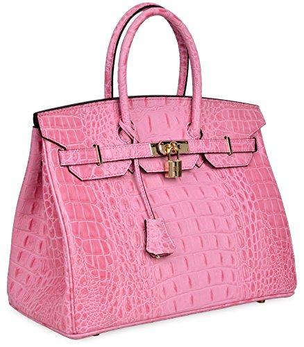 Cherish Kiss Women's Luxury Embossed Crocodile Leather Tote Office Padlock Handbags (30CM, Pink) by Cherish Kiss (Image #2)
