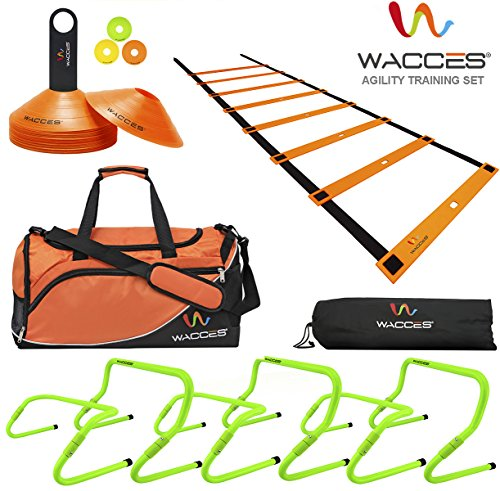 Wacces Sports Exercise & Fitness Training Equipment Speed & Agility Training Kit Combo Set & Agility Hurdles & Space Marker & Speed Ladder & Duffle Bag